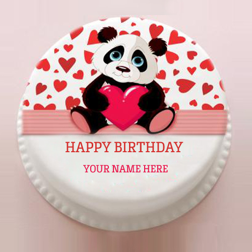 Write Name on Cute Panda Birthday Cake For Sweet Childr