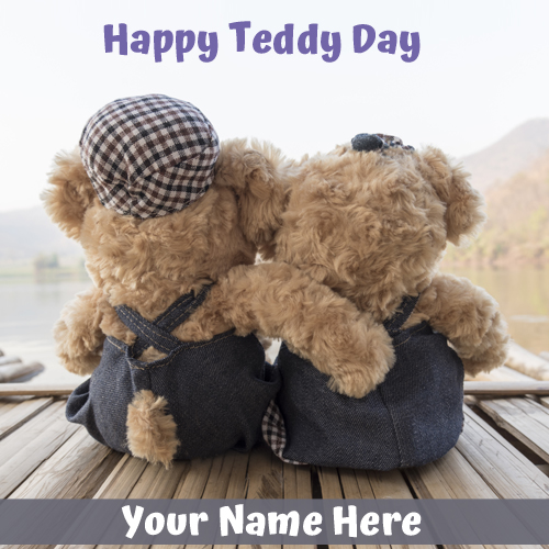 Happy Teddy Day Romantic Valentine Greeting With Name