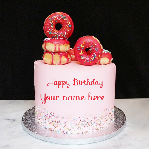 Double Layer Donuts Birthday Wishes Cake With Name