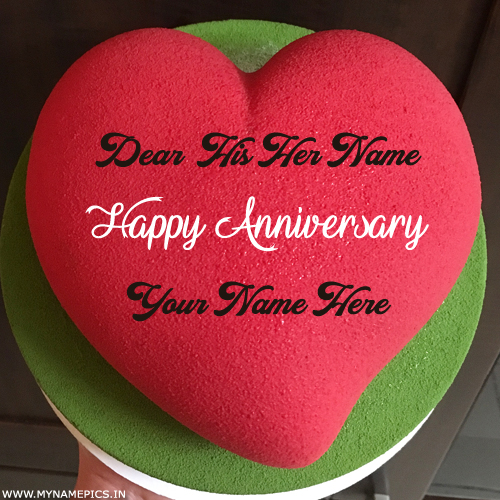 Romantic Heart Cake For Anniversary Wishes With Name