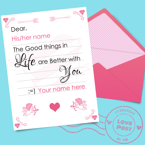 Beautiful Love Note Greeting With Love Couple Name