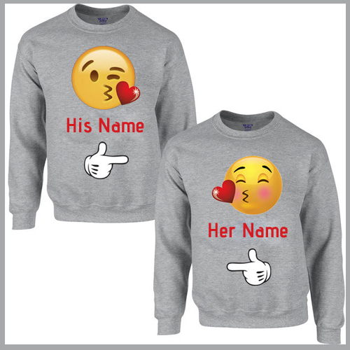 Emoji Love Heart Couple T Shirt With Your Name