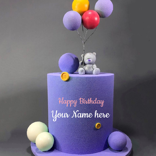 Beautiful Name Birthday Cake With Smiling Teddy Bear
