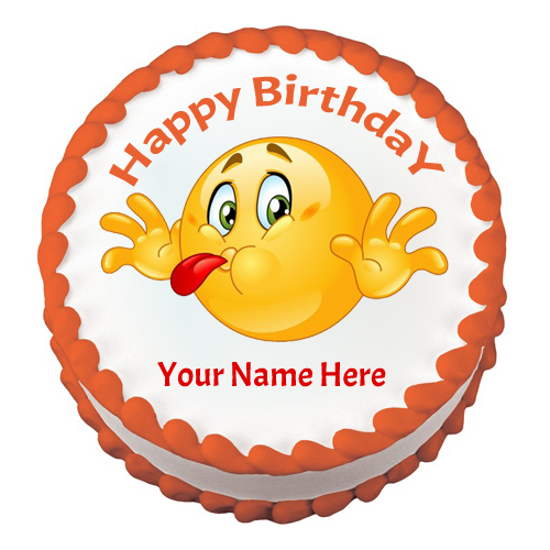 Funny And Cute Emoticon Birthday Wishes Cake With Name