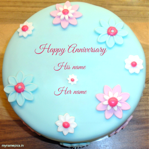 Write name on flowe anniversary cake profile pic