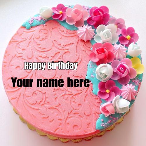 Beautiful Pink Floral Art Birthday Cake With Your Name