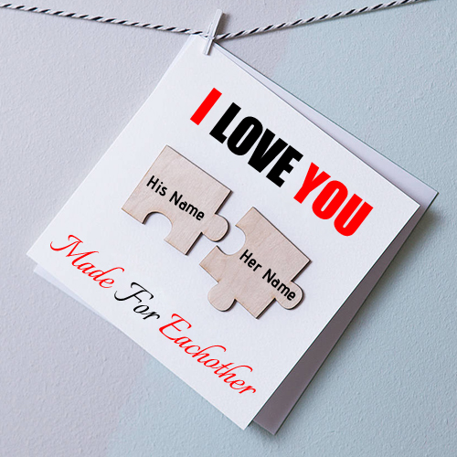 Write Couple Name on I Love You Two Pieces Magnets Card
