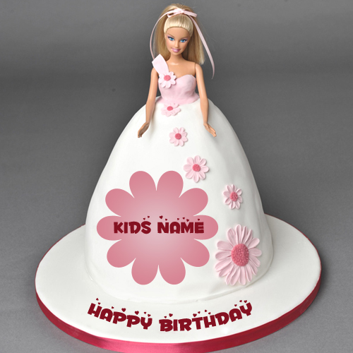Cute Barbie Doll Birthday Cake For Kids With Your Name