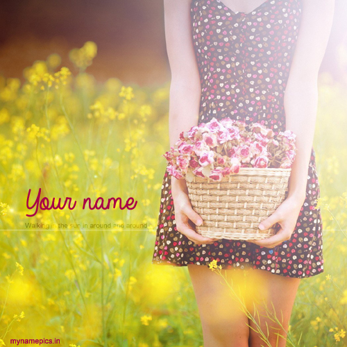write name on beautiful girl with flower profile pics