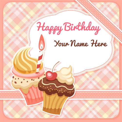 Happy Birthday Frame with Cupcake and Your Name