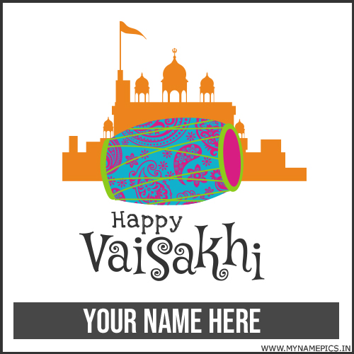 Happy Vaisakhi Wishes Greeting Card With Your Name