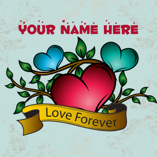 Red Heart Shape Love Forever Tattoo Design With Name