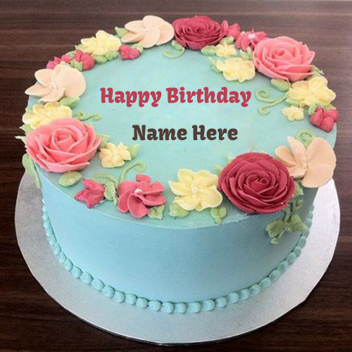 Smooth Buttercream Birthday Cake With Your Name