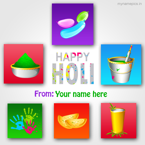 Print name colorful holi whatsapp profile pix