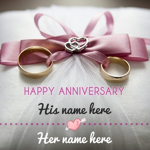 Happy Anniversary Beautiful Greeting With Couple Name