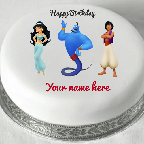 Happy Birthday Aladdin and Genie Kids Cake With Name