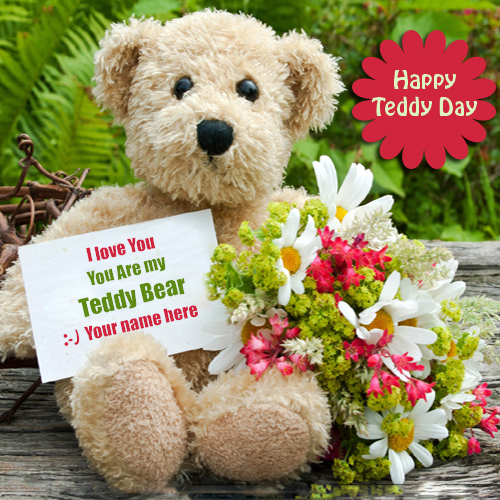 Write name on Happy teddy Day profile pic