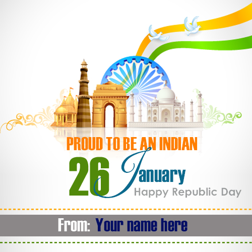 Write name on republic day wishes card pix