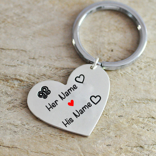 Alloy Fashion Heart Keychain Engraved With Your Name