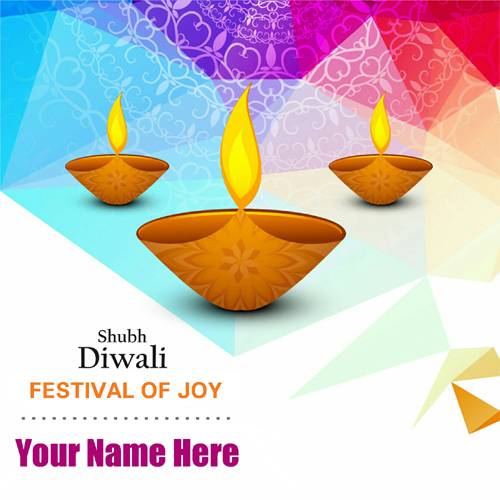 Shubh Diwali Festival of Joy Greeting Card With Name