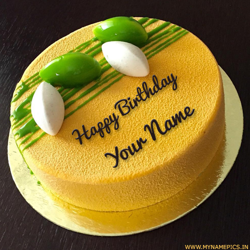 Delicious Round Mango Birthday Cake With Custom Name