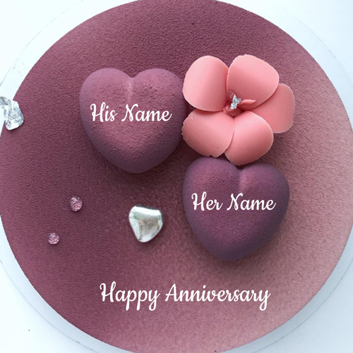 Happy Anniversary Purple Heart Cake With Couple Name