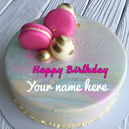 Beautiful Pink Donuts Birthday Cake With Your Name