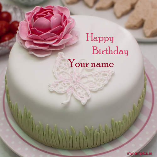 Write name on rose flower birthday cake pics