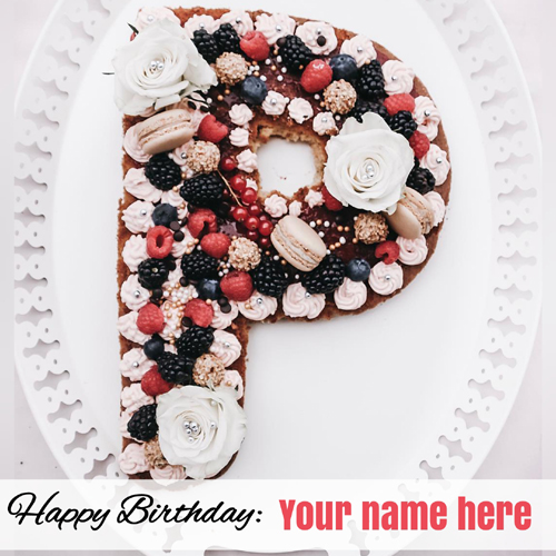 P Shaped Happy Birthday Donut Cake With Your Name