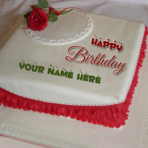 Happy Birthday Romantic Rose Love Cake With Your Name
