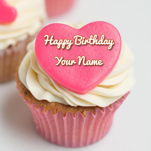 Happy Birthday Pink Heart Cup Cake With Friend Name