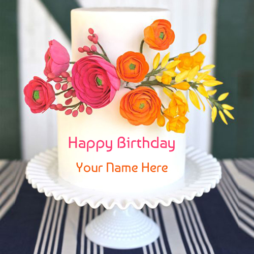Beautiful Colourful Floral Birthday Cake With Your Name