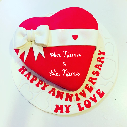 Happy Anniversary My Love Romantic Heart Cake With Name