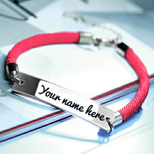 Write Your Name on Beautiful Bar Bracelet For Girls