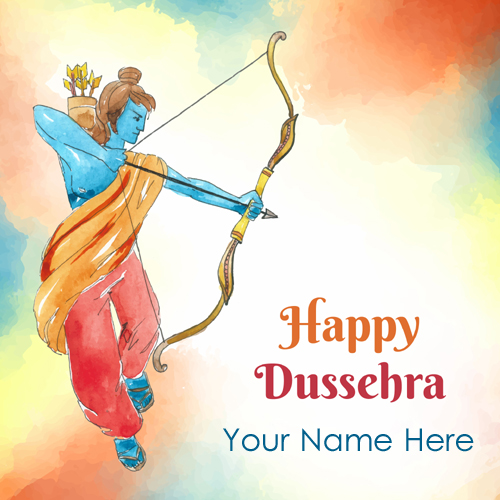 Write Name on Dussehra Vijayadashami Wishes Greeting