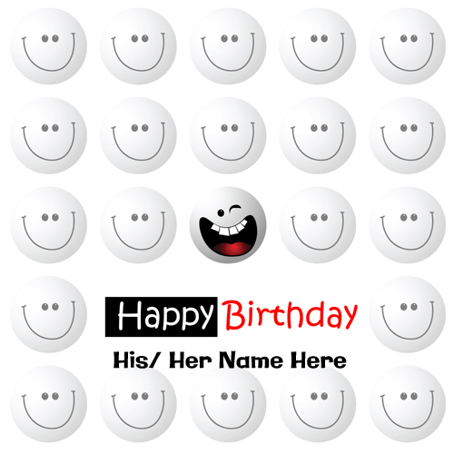 Happy Birthday Wishes Funny Smiley Greeting With Name