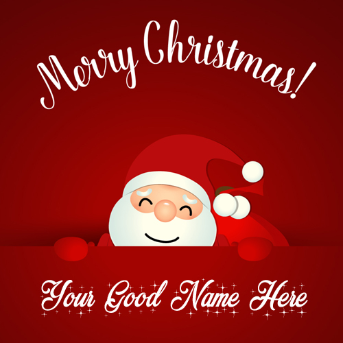 Merry Christmas Cute Santa Claus Greeting With Your Nam