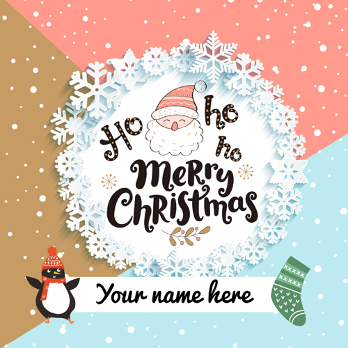 Merry Christmas Wishes Cute Santa Greeting With Name