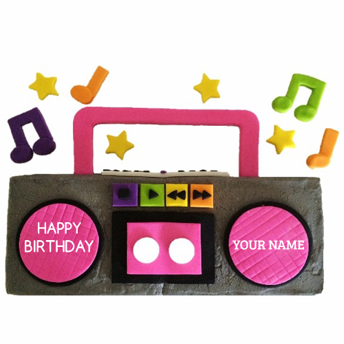 Happy Birthday Radio Design Cake With Your Name