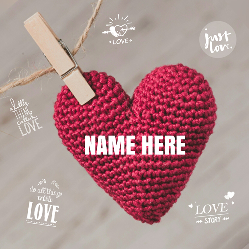 Write Lover Name on Beautiful Crochet 3D Puffy Heart