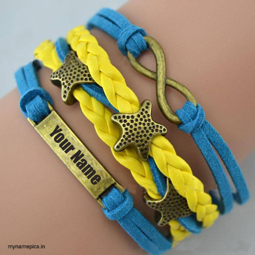 Write your name on blue yellow star bracelets pic