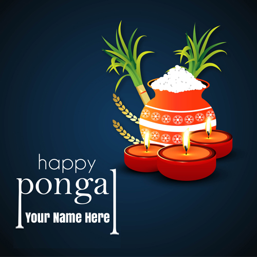 Write Name on Happy Pongal 2021 Wishes Greeting