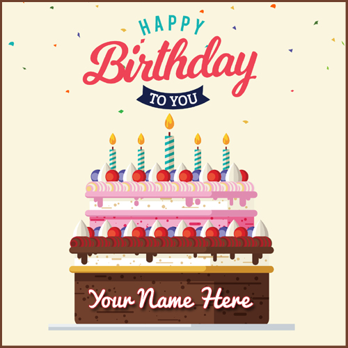 Greeting card of Delicious Birthday Cake With Your Name