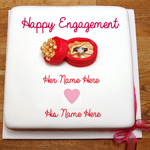 Write Name On Happy Engagement Wish Greeting Card Pic