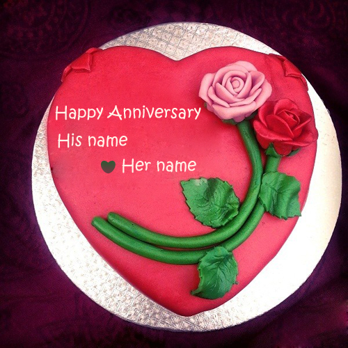Write name on rose wedding anniversary cake profile pic