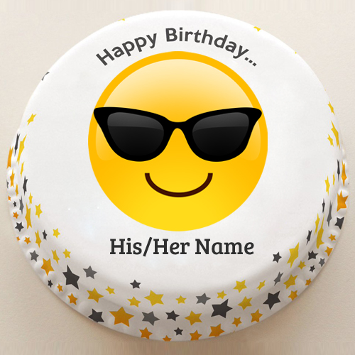 Dashing Boy Stylish Emoji Birthday Cake With Your Name