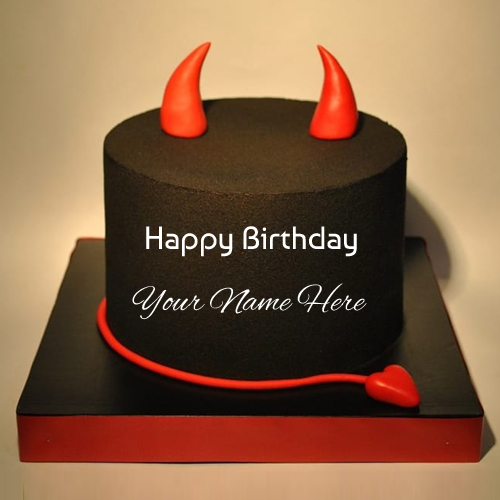 Happy Birthday Black Devil Cake With Friend Name