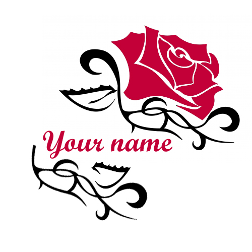 Generate Rose tattoo design with your name