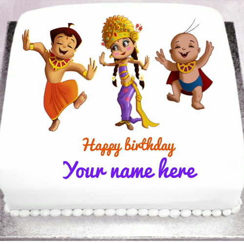 Write name on kids birthday cake and greeting card online