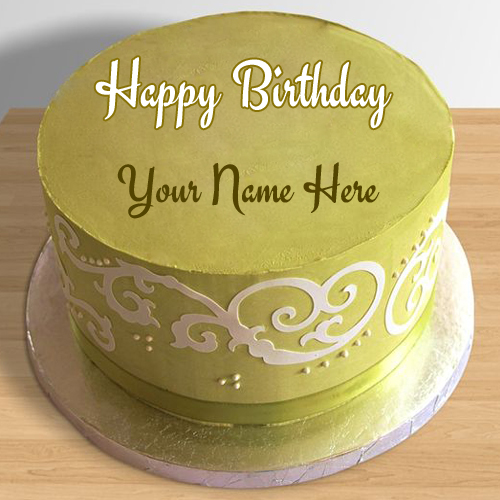 Happy Birthday Vibrant Coloured Round Cake With Name